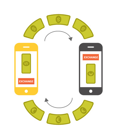wirelessly: Currency exchange concept. Changing money online by smartphone. Vector illustration of two smartphones sending dollars and euro to each other. Illustration