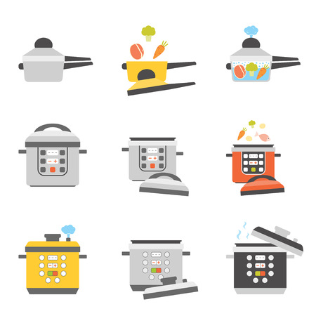 Set of flat icons of pressure cooker. Different types of multicooker equipment.