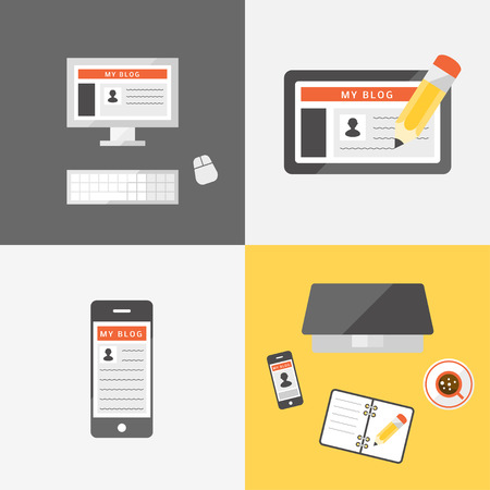 article writing: Set of flat web icons of blogging. Blog, web-site concept. Type of journalism.