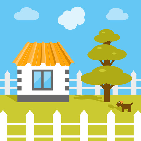 Flat vector house standing on the yard. Illustration of suburban life. ar Vettoriali