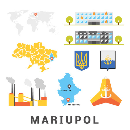 azov: Mariupol concept. Set of objects describing Mariupol, Ukraine. Vector pack of flat icons. Map of Ukraine, Donetsk region. Tetrapod as symbol of Mariupol.