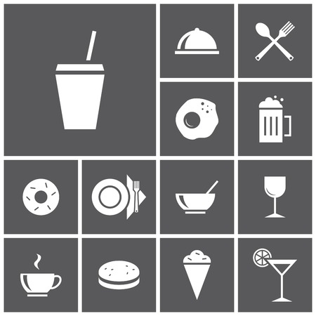 Set of flat simple colored icons (food, restaurant, kitchen), vector illustration
