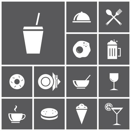 alimentos y bebidas: Conjunto de iconos planos simples colores (comida, restaurante, cocina), ilustración vectorial