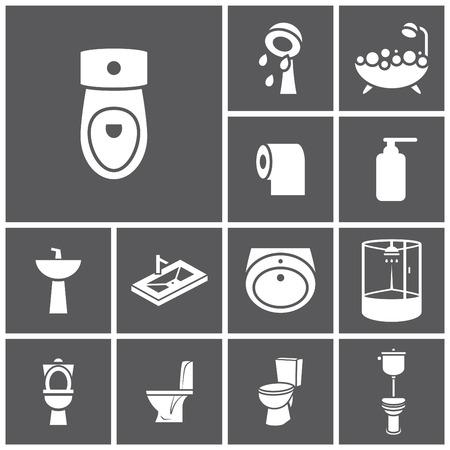 washstand: Set of flat simple web icons (bathroom, restroom, WC, toilet), vector illustration