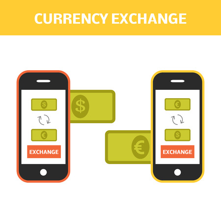 Currency exchange concept. Changing money online by smartphone. Vector illustration of two smartphones sending dollars and euro to each other. 일러스트