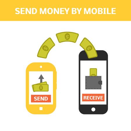 モバイルの概念によってお金を送る。別に 1 つのスマート フォンからお金を送る。オンラインでの支払いのベクター イラストです。  イラスト・ベクター素材