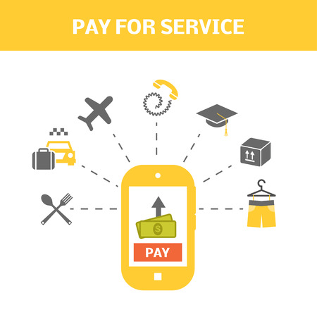 pay for: Pay for service concept. Internet shopping picture. Vector illustration of smartphone and types of payments. Illustration