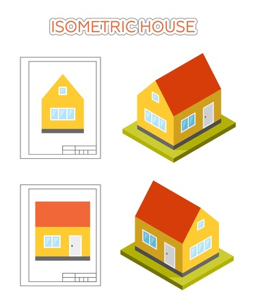 lateral view: Simple small cute isometric house, vector icon. Set of front and side elevations and isometric views. Illustration