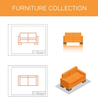 lateral view: Isometric icon of a sofa, vector. Two blueprints with front view and top view. Flat pictogram of a couch.