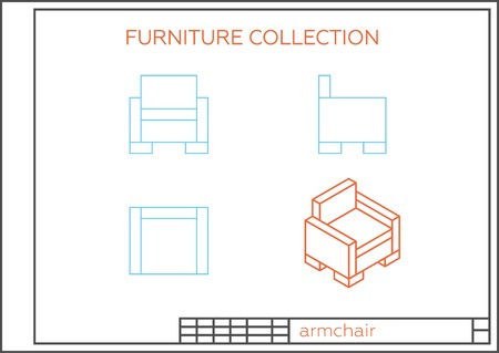 lateral view: Blueprint of an armchair, vector. Front view, top view and side view. Isometric projection of a modern chair.