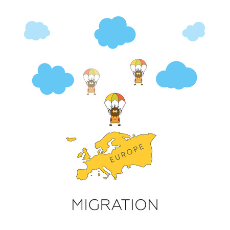 migration: Global migration concept. Cartoon vector illustration of three africans skydivers jumping into Europe. Immigrants in European Union. Illustration