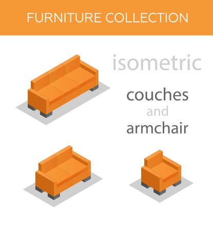 lateral view: Isometric icons of a sofa and an armchair, vector. Illustration
