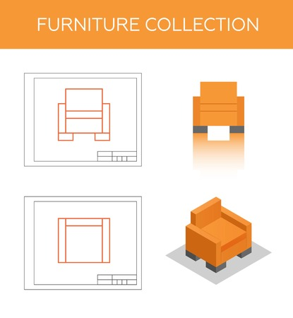 lateral view: Isometric icon of an armchair, vector. Two blueprints with front view and top view. Flat pictogram of a modern chair. Illustration