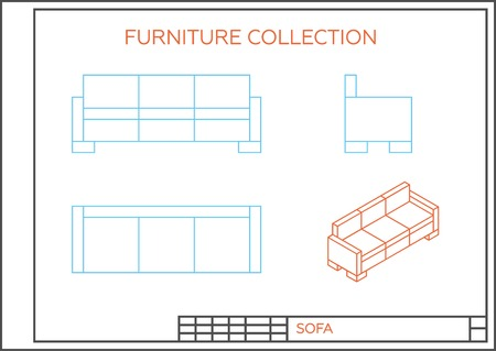 lateral view: Blueprint of sofa, vector. Front view, top view and side view. Isometric projection of a couch.
