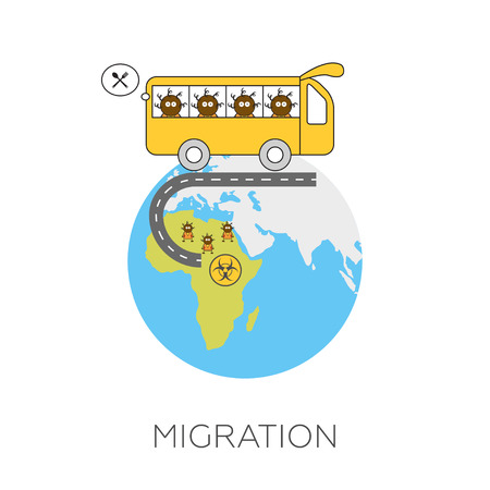 hoping: Global migration concept. Cartoon vector illustration of africans going by bus from Africa to Europe hoping for better life. Immigrants in European Union. Rescue from biohazard and famine