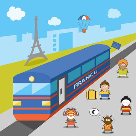 migration: International migration concept. Cartoon vector illustration of migrants arrived to France. Immigrants in European Union. Immigration to Paris. Illustration