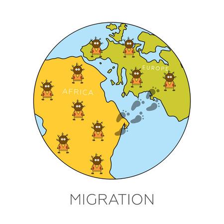migraci�n: Concepto de migraci�n global. Ilustraci�n vectorial de dibujos animados de los africanos que van desde �frica a Europa. Los inmigrantes en la Uni�n Europea. Rescate de riesgo biol�gico y el hambre y la b�squeda de empleo. Vectores