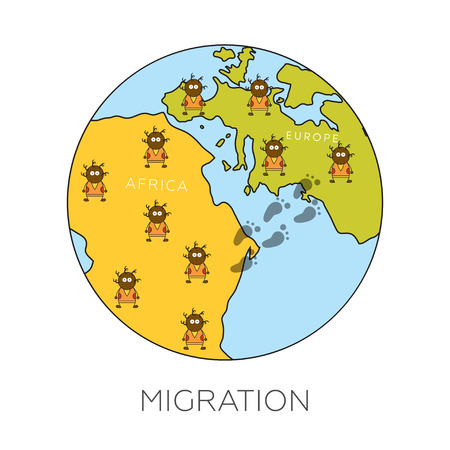 Global migration concept. Cartoon vector illustration of africans going from Africa to Europe. Immigrants in European Union. Rescue from biohazard and famine and searching for job.