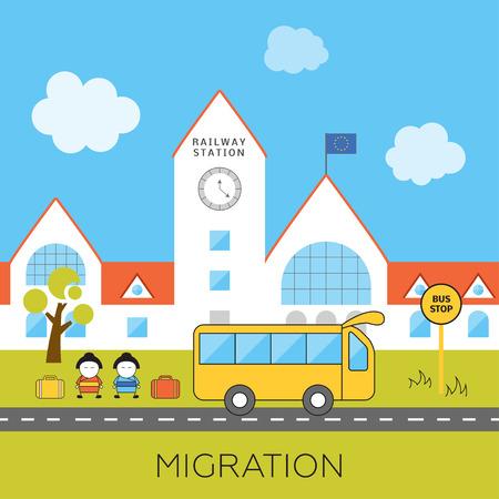 tren caricatura: Concepto de la migración internacional. Ilustración vectorial de dibujos animados de los inmigrantes asiáticos llegaron a Europa. Los inmigrantes en la Unión Europea. La inmigración a Europa.