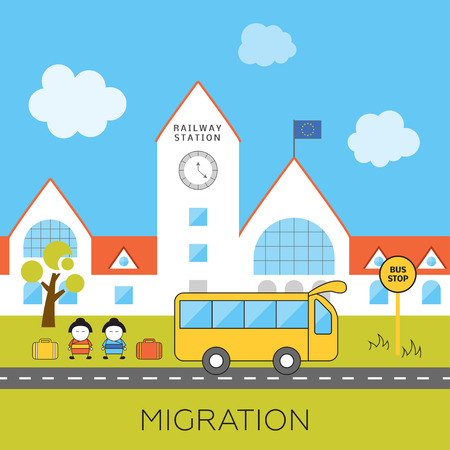 black train: International migration concept. Cartoon vector illustration of asian migrants arrived to Europe. Immigrants in European Union. Immigration to Europe.