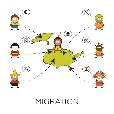 persecution: Global migration concept. Cartoon vector illustration of people from all over the world going to America. Immigrants in United States. Men searching for job, hoping for better life, hiding from persecution and famine. Illustration