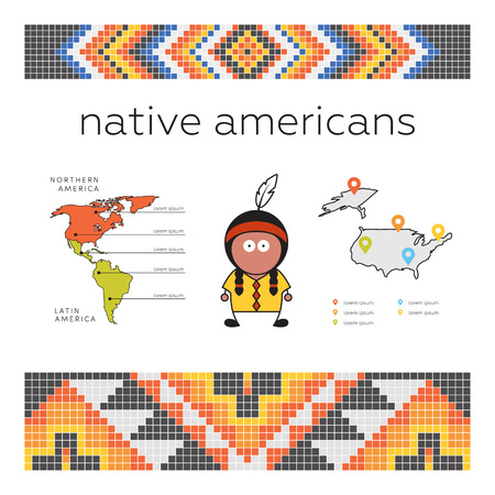 ancient civilization: Native american concept. Template for infographic. Vector man, American indian and his natural habitat. Pixel native american pattern.