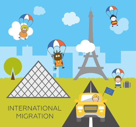 migraci�n: Concepto de migraci�n global. Ilustraci�n vectorial de dibujos animados de tres paracaidistas migrantes que saltan en Francia. Los inmigrantes en la Uni�n Europea. Inmigraci�n a Par�s. Vectores