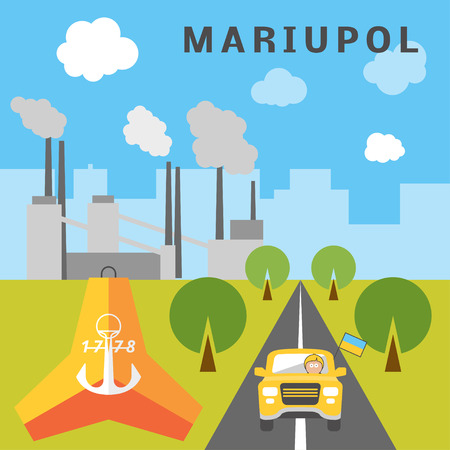 migrate: Mariupol landscape. Cartoon illustration of a man driving his car from Mariupol passing by tetrapod. Person going to boundary Illustration