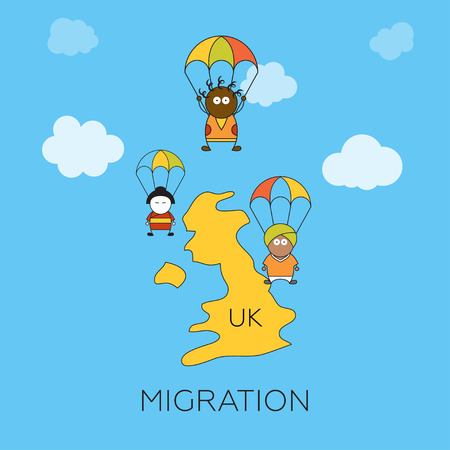 migration: Global migration concept. Cartoon vector illustration of asian, african and indian migrants skydivers jumping into United Kingdom. Immigrants in European Union.