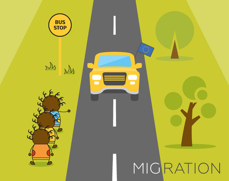 Global migration concept. Cartoon vector illustration of three africans hitchhikers waiting for a ride. Immigrants in European Union.