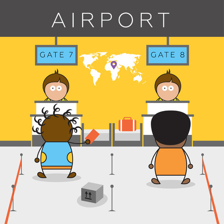 Check in desk in airport terminal. Cartoon vector illustration of africans sitting on the plane. Illustration