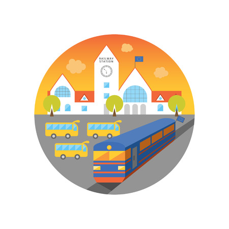 bus stop: Cartoon vector illustration of railway station at dawn. Train coming out of European Union. Bus stop near terminal.