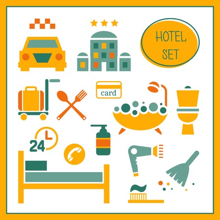 check out: Hotel elements set. Rooming, inn, motel, hostel. Vector illustration