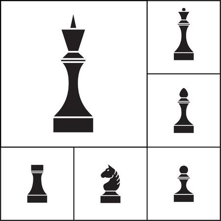 chessmen: Set of chess pieces (chessmen), vector illustration