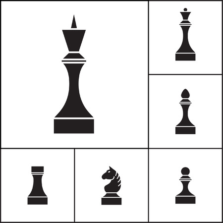 Set of chess pieces (chessmen), vector illustration