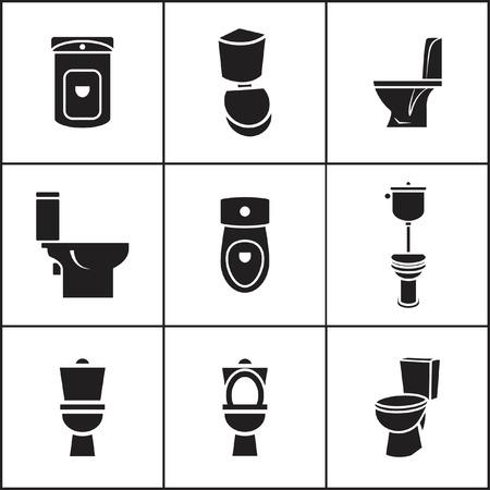 inodoro: Conjunto de iconos planos simples Web (WC, ducha, armario, lavabo), ilustración vectorial