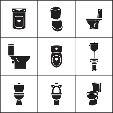 toilet icon: Set of flat simple web icons (toilet, wc, closet, lavatory ), vector illustration