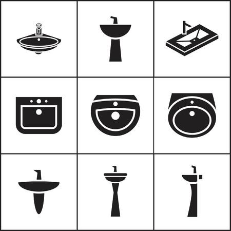 washstand: Set of flat simple web icons (sink, wash-basin, washbowl), vector illustration