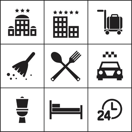 Set of flat simple web icons (hotel, rooming, inn), vector illustration