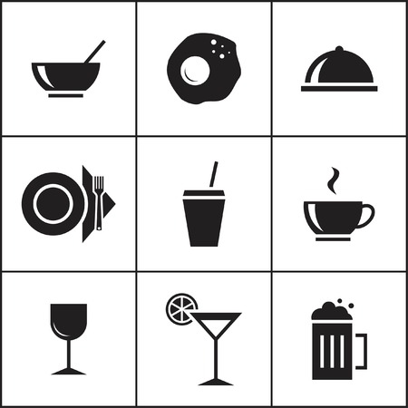 facer: Set of flat simple colored icons (food, restaurant, kitchen), vector illustration