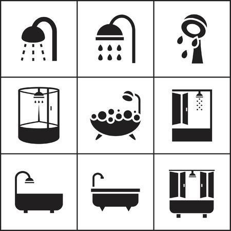 cabine de douche: Ensemble d'icônes plats simples web (baignoire, douche, Douche), illustration vectorielle