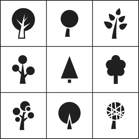 application recycle: Set of flat simple colored icons (trees, flora, botany), vector illustration