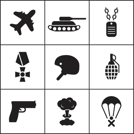 arming: Set of flat dark simple icons (military, army, war), vector Illustration