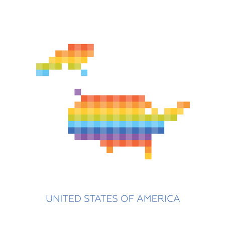 frontiers: Colorful pixel map of USA. Vector frontiers of United States in colors of rainbow.