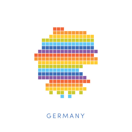 frontiers: Colorful pixel map of Germany. Vector frontiers of Federal Republic of Germany in colors of rainbow.