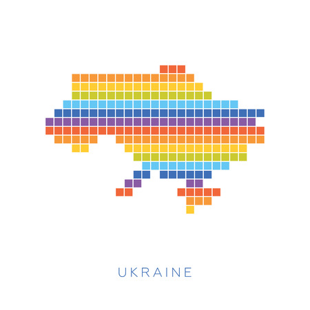 frontiers: Colorful pixel map of Ukraine. Vector frontiers of Ukraine in colors of rainbow.