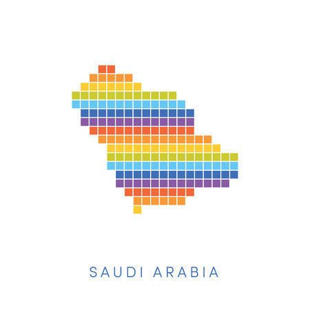 frontiers: Colorful pixel map of Saudi Arabia. Vector frontiers of Kingdom of Saudi Arabia in colors of rainbow. Illustration