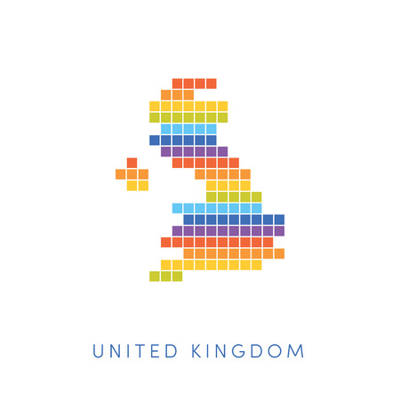 frontiers: Colorful pixel map of United Kingdom. Vector frontiers of UK in colors of rainbow.