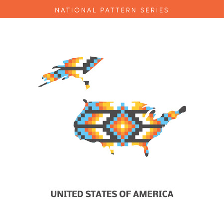 frontiers: Colorful map of USA. Vector frontiers of United States with native american pattern within.
