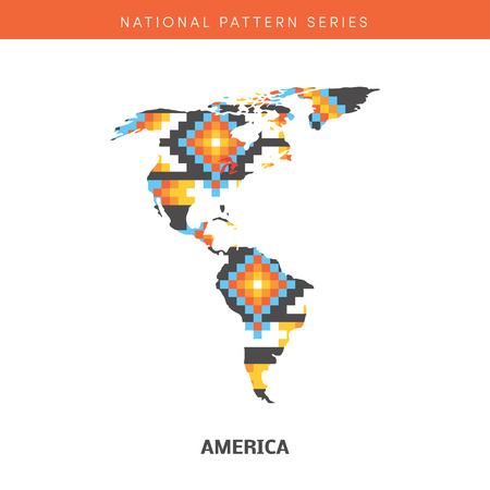 frontiers: Colorful map of America. Vector frontiers of Southern and Northern America with native american pattern within. Illustration